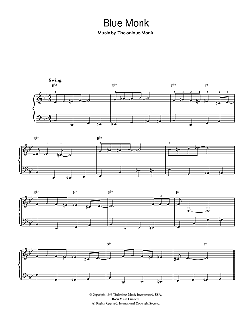 Thelonious Monk Blue Monk sheet music notes and chords. Download Printable PDF.