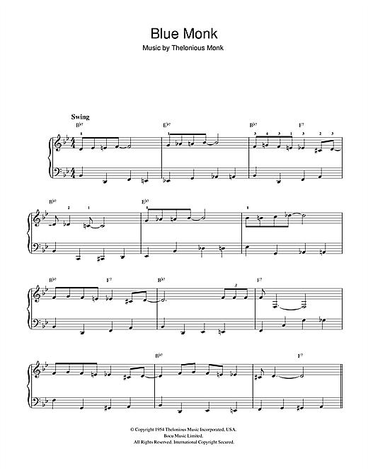 Thelonious Monk 'Blue Monk' Sheet Music Notes, Chords | Download Printable  Beginner Piano - SKU: 32329