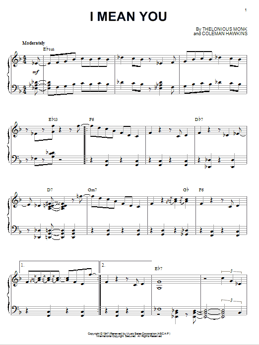 Thelonious Monk I Mean You sheet music notes and chords. Download Printable PDF.