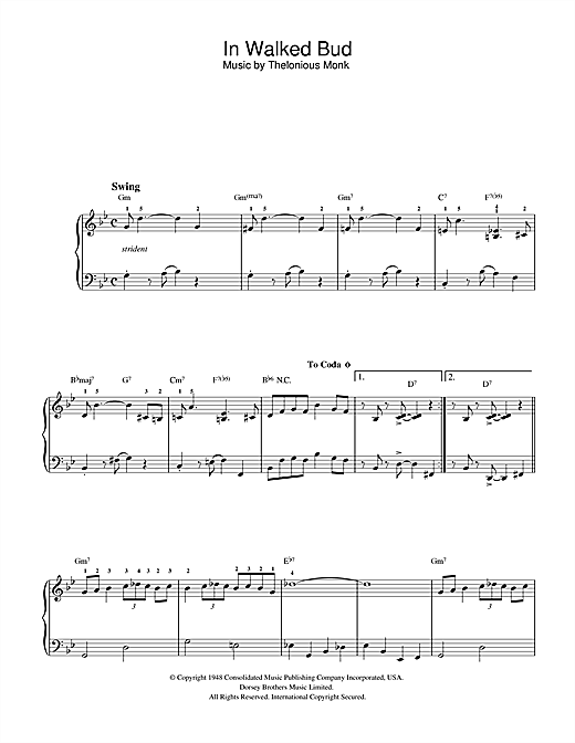 Thelonious Monk In Walked Bud sheet music notes and chords. Download Printable PDF.