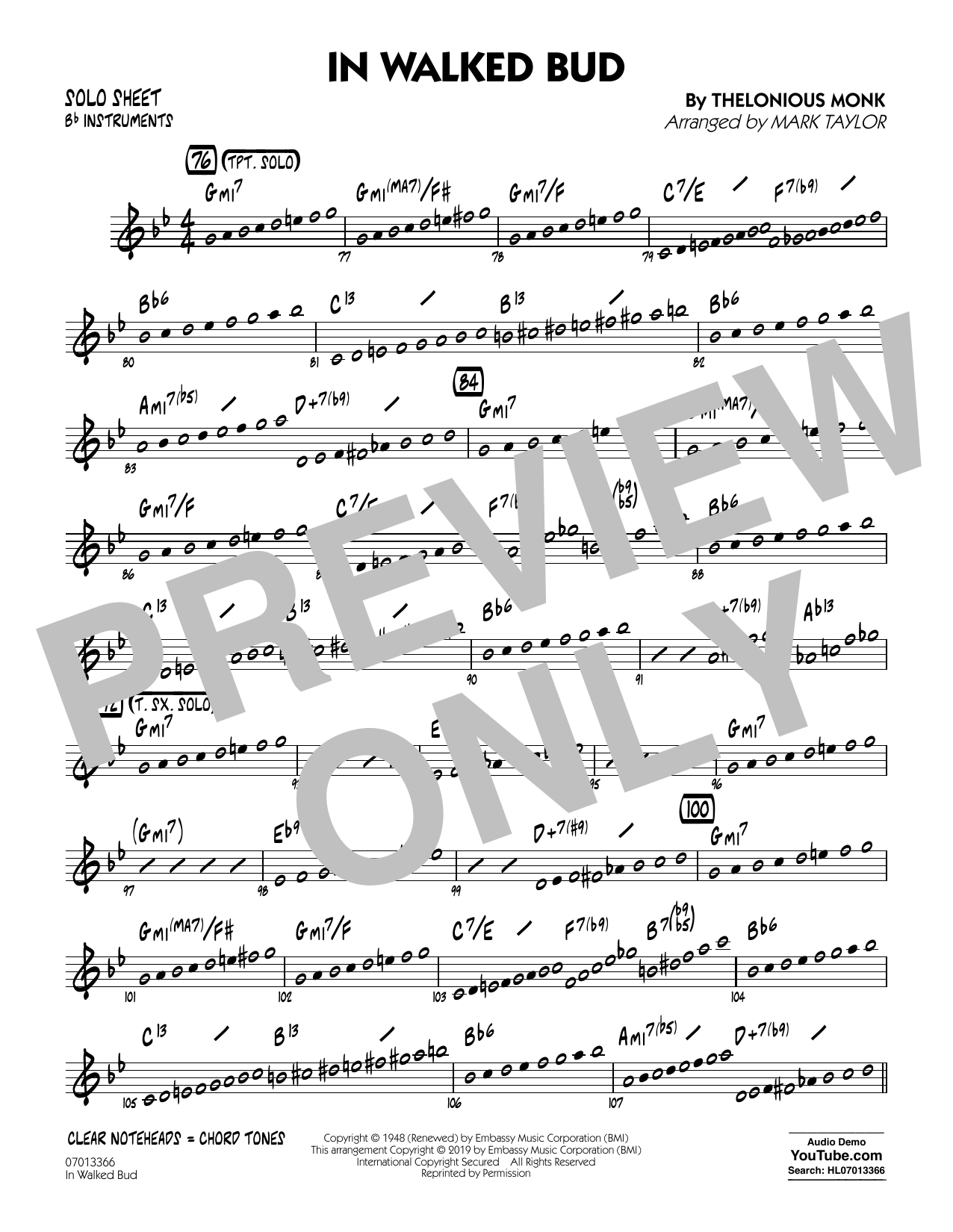 Thelonious Monk In Walked Bud (arr. Mark Taylor) - Bb Solo Sheet sheet music notes and chords. Download Printable PDF.