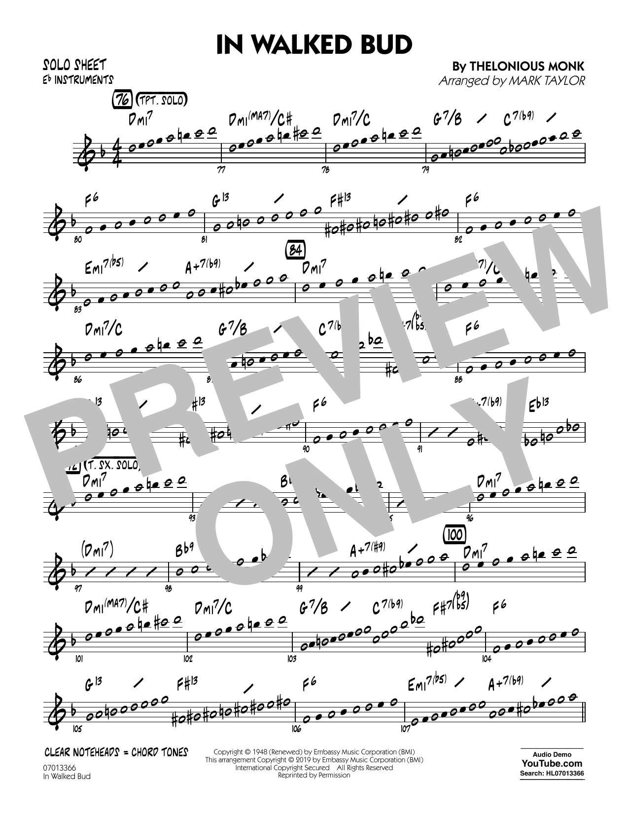 Thelonious Monk In Walked Bud (arr. Mark Taylor) - Eb Solo Sheet sheet music notes and chords. Download Printable PDF.