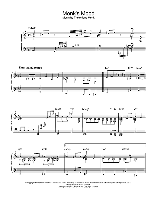 Thelonious Monk Monk's Mood sheet music notes and chords. Download Printable PDF.
