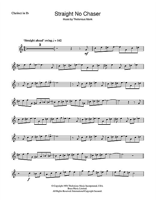 Thelonious Monk Straight No Chaser sheet music notes and chords. Download Printable PDF.