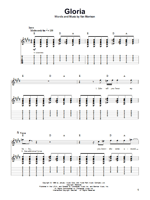 Them Gloria sheet music notes and chords. Download Printable PDF.