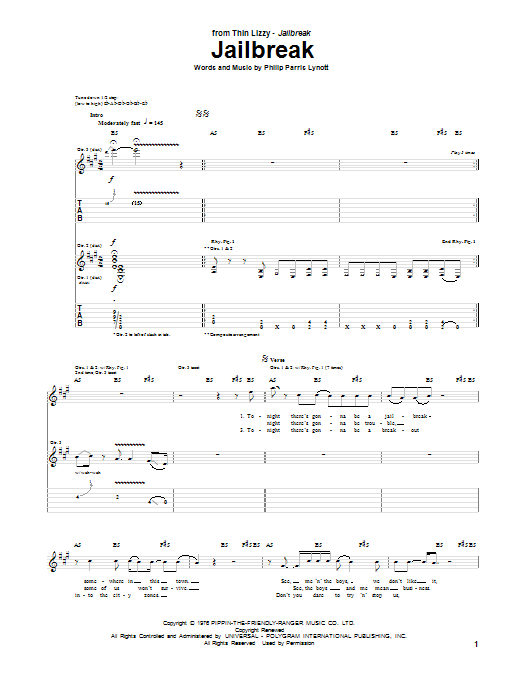 Thin Lizzy Jailbreak sheet music notes and chords. Download Printable PDF.