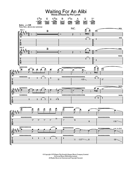 Thin Lizzy Waiting For An Alibi sheet music notes and chords