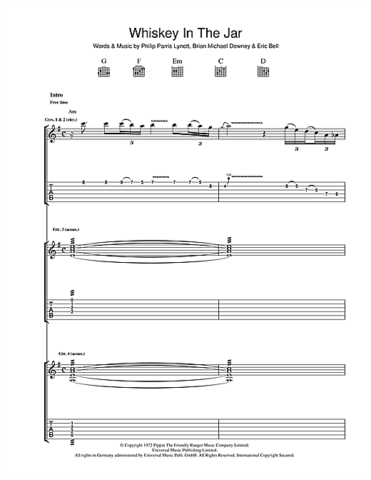 Thin Lizzy Whiskey In The Jar sheet music notes and chords