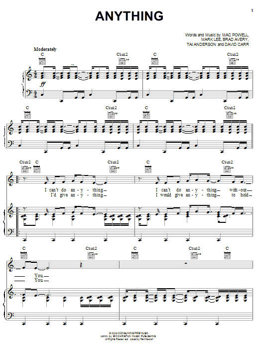 Third Day Anything sheet music notes and chords