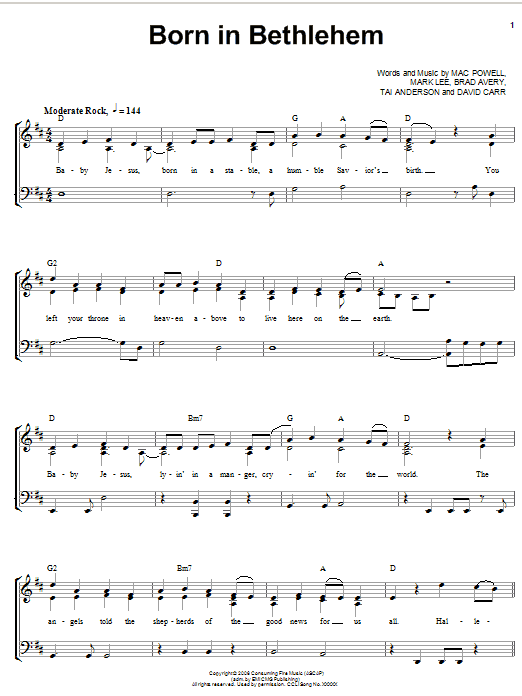 Third Day Born In Bethlehem sheet music notes and chords. Download Printable PDF.