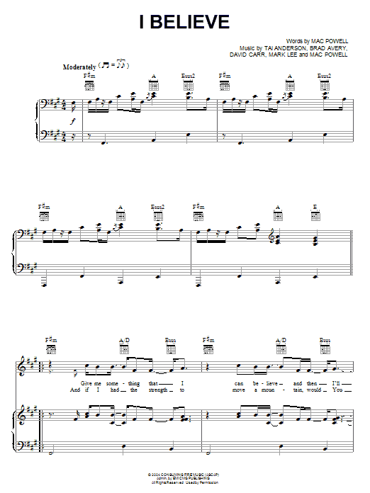Third Day I Believe sheet music notes and chords. Download Printable PDF.