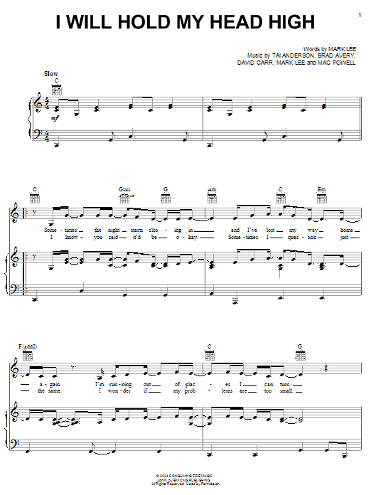 Third Day I Will Hold My Head High sheet music notes and chords. Download Printable PDF.