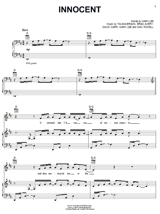 Third Day Innocent sheet music notes and chords. Download Printable PDF.