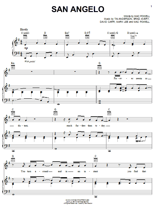 Third Day San Angelo sheet music notes and chords. Download Printable PDF.