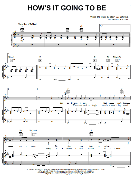 Third Eye Blind How's It Going To Be sheet music notes and chords