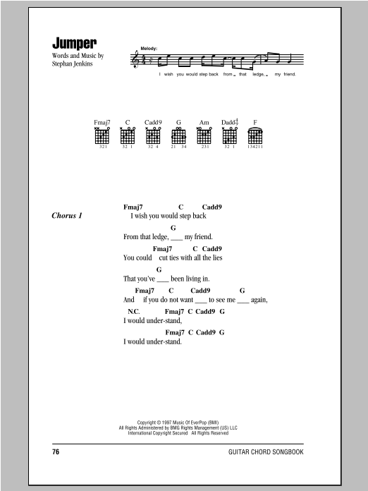Third Eye Blind Jumper sheet music notes and chords. Download Printable PDF.