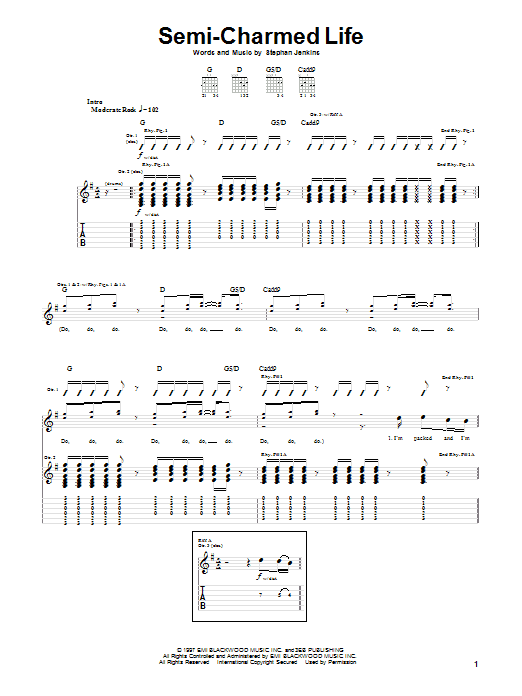 Third Eye Blind Semi-Charmed Life sheet music notes and chords