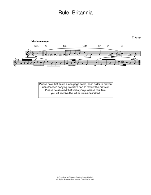 Thomas Arne Rule Britannia sheet music notes and chords