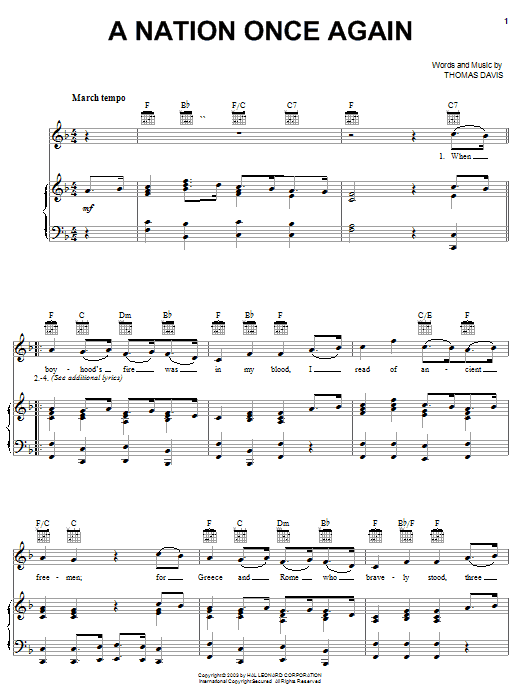Thomas Davis A Nation Once Again sheet music notes and chords. Download Printable PDF.
