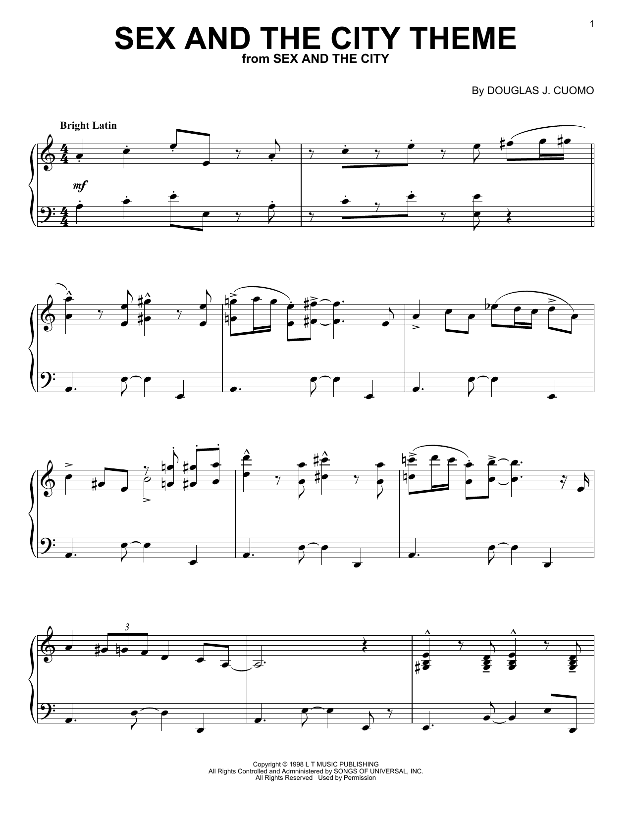 Thomas Findlay Sex And The City Theme sheet music notes and chords