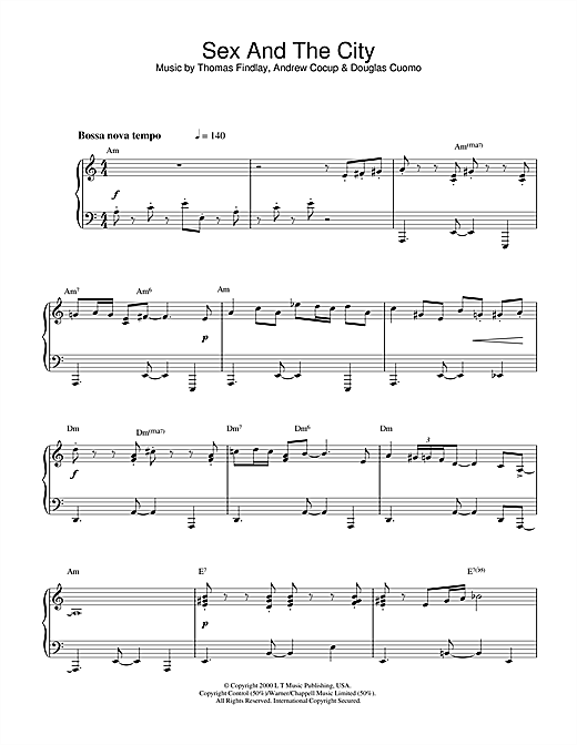 Thomas Findlay Theme from Sex And The City sheet music notes and chords