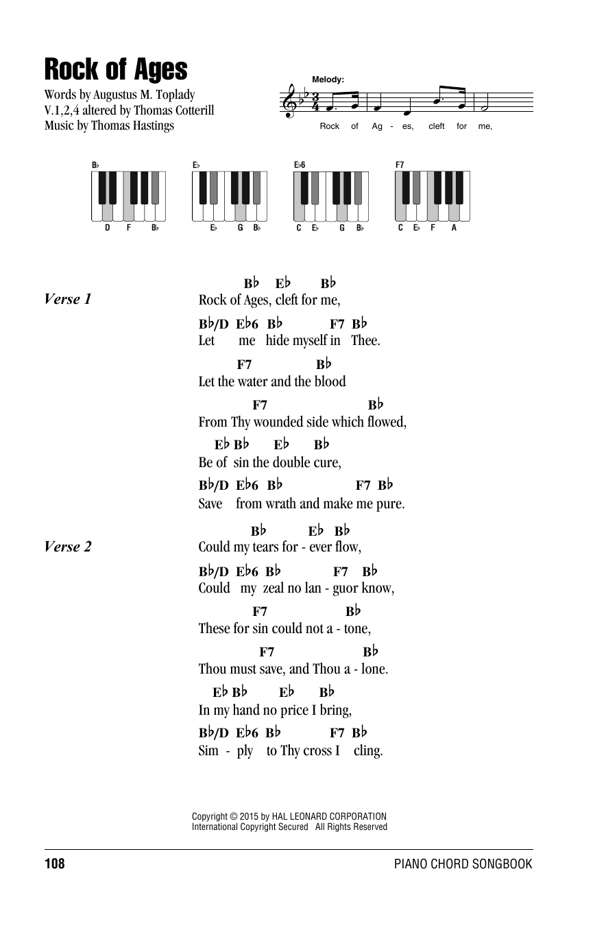 Thomas Hastings Rock of Ages sheet music notes and chords. Download Printable PDF.