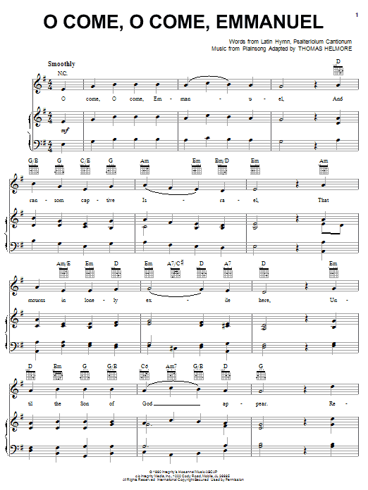 Thomas Helmore O Come, O Come Emmanuel sheet music notes and chords. Download Printable PDF.