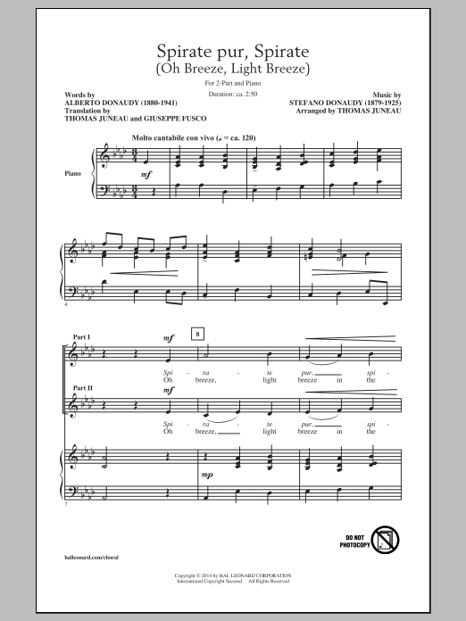 Thomas Juneau Spirate Pur, Spirate (Oh Breeze, Light Breeze) sheet music notes and chords. Download Printable PDF.
