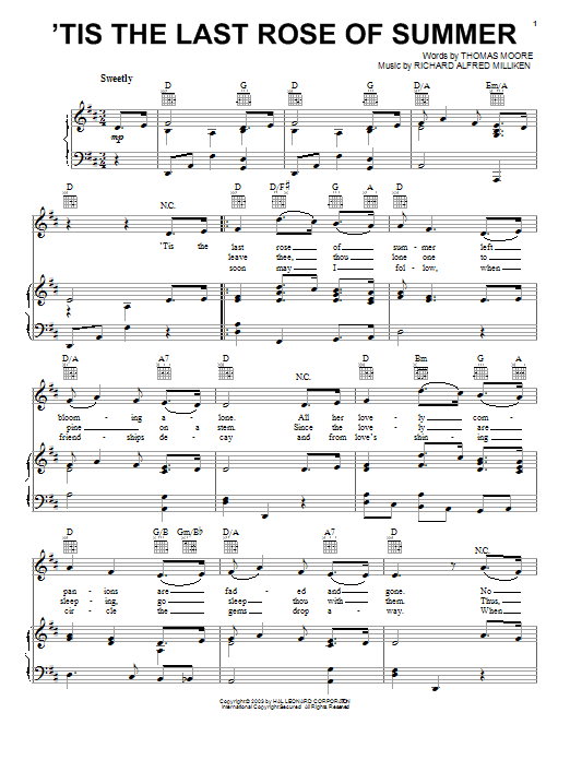 Thomas Moore 'Tis The Last Rose Of Summer sheet music notes and chords. Download Printable PDF.