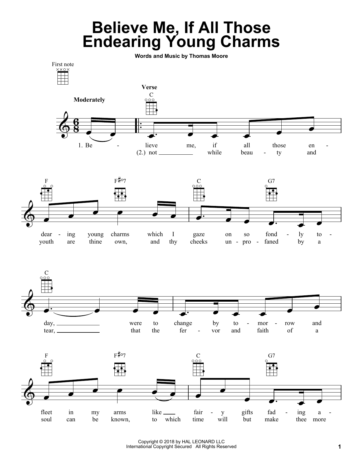 Thomas Moore Believe Me, If All Those Endearing Young Charms sheet music notes and chords. Download Printable PDF.