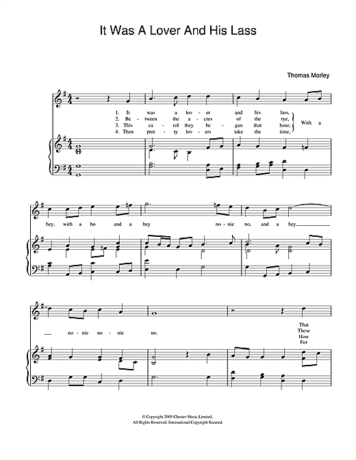 Thomas Morley It Was A Lover And His Lass sheet music notes and chords. Download Printable PDF.