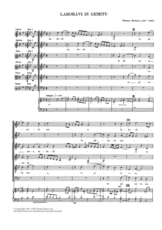 Thomas Morley Laboravi In Gemitu sheet music notes and chords. Download Printable PDF.