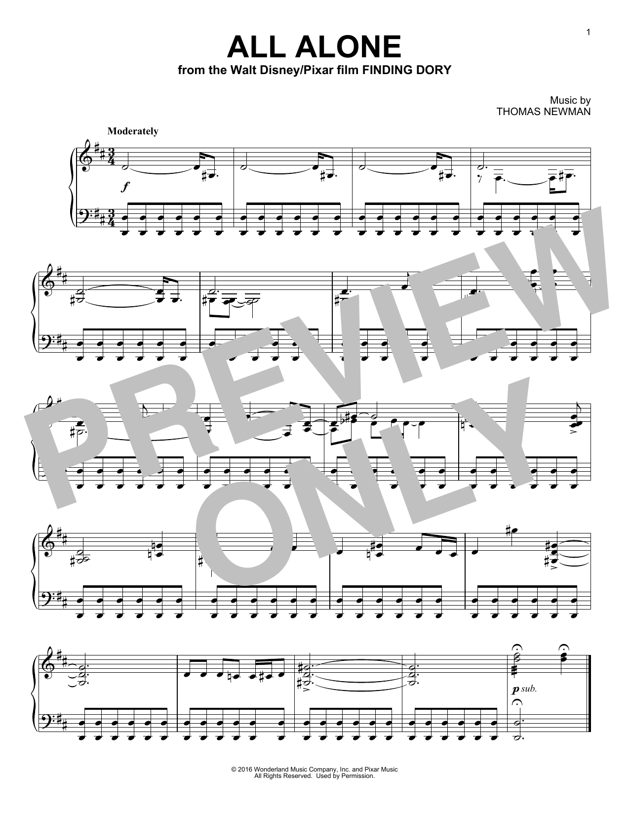 Thomas Newman All Alone sheet music notes and chords. Download Printable PDF.