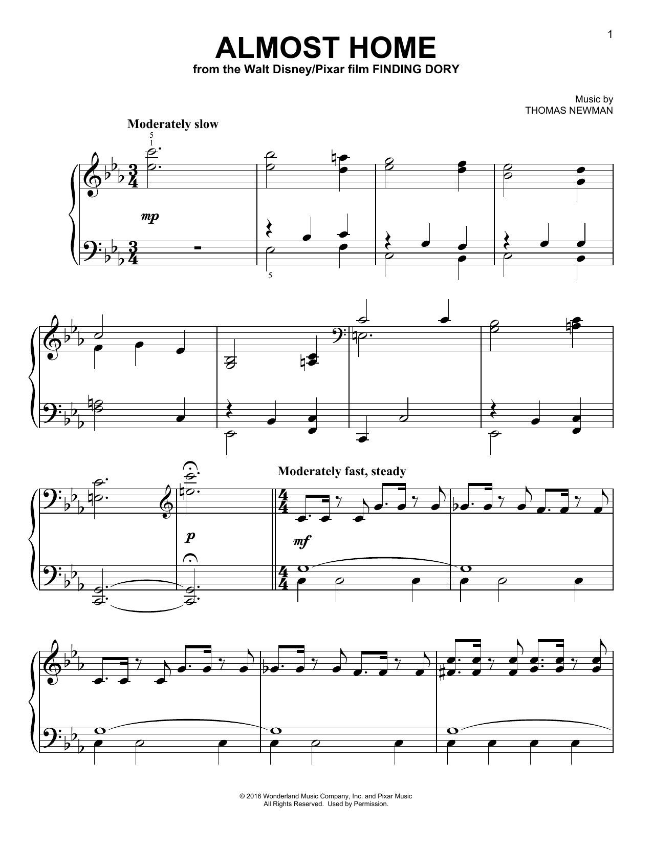 Thomas Newman Almost Home sheet music notes and chords. Download Printable PDF.