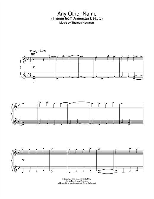 Thomas Newman Any Other Name (Theme from American Beauty) sheet music notes and chords. Download Printable PDF.