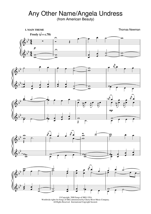 Thomas Newman Any Other Name/Angela Undress (from American Beauty) sheet music notes and chords