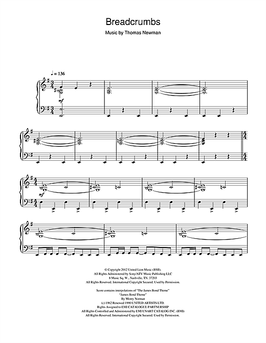 Thomas Newman Breadcrumbs (from James Bond Skyfall) sheet music notes and chords. Download Printable PDF.