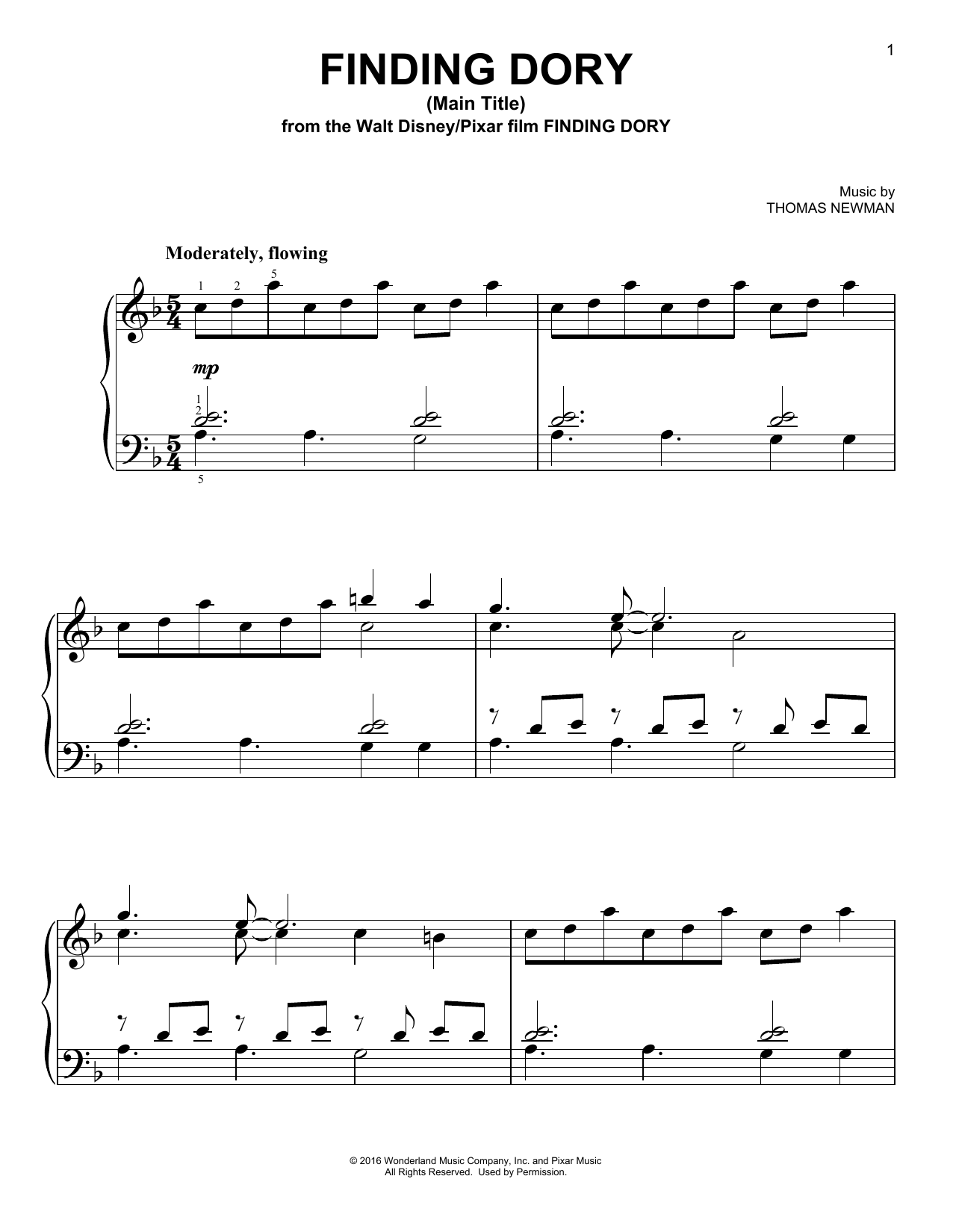 Thomas Newman Finding Dory (Main Title) sheet music notes and chords. Download Printable PDF.