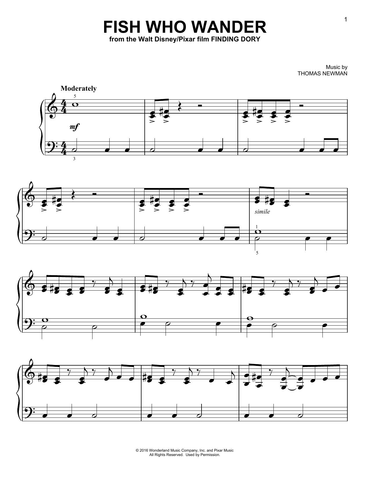 Thomas Newman Fish Who Wander sheet music notes and chords