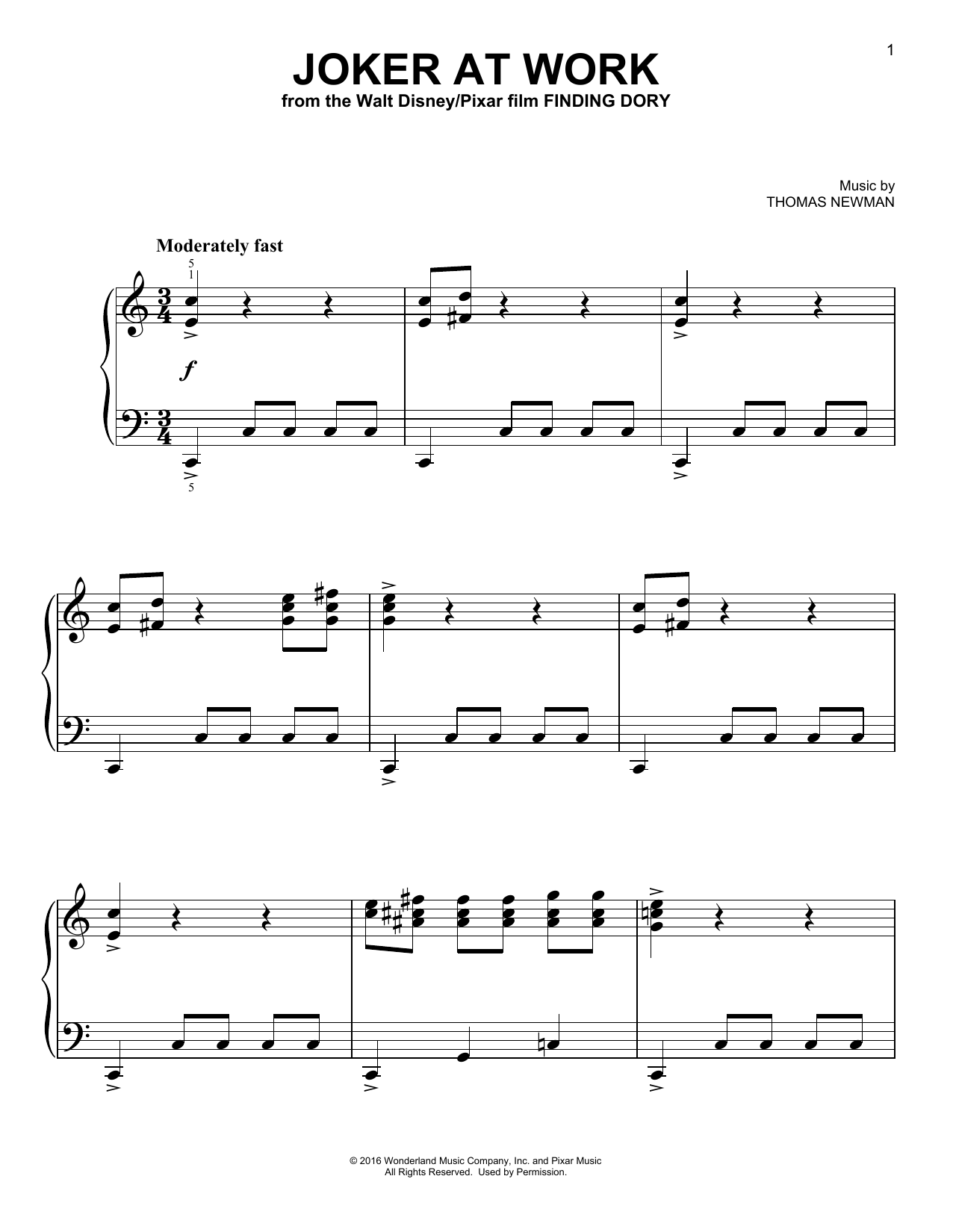 Thomas Newman Joker At  Work sheet music notes and chords. Download Printable PDF.