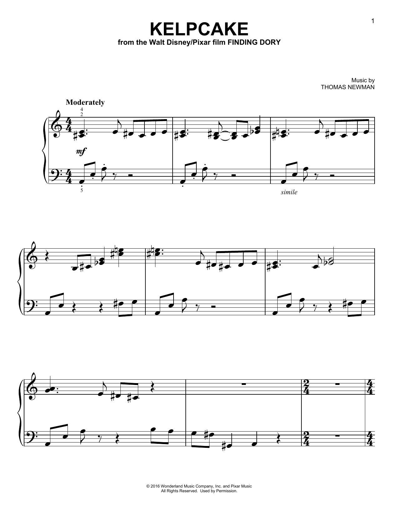 Thomas Newman Kelpcake sheet music notes and chords. Download Printable PDF.