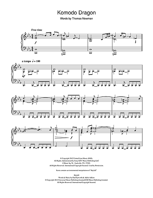 Thomas Newman Komodo Dragon (from James Bond Skyfall) sheet music notes and chords. Download Printable PDF.