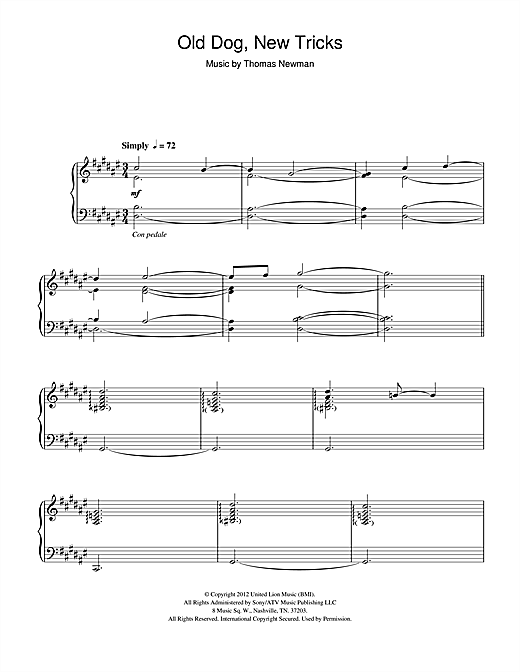 Thomas Newman Old Dog, New Tricks (from James Bond Skyfall) sheet music notes and chords