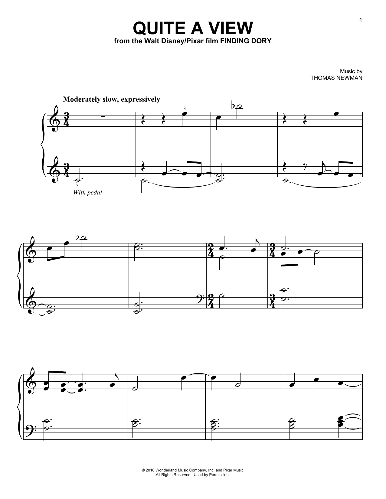 Thomas Newman Quite A View sheet music notes and chords. Download Printable PDF.
