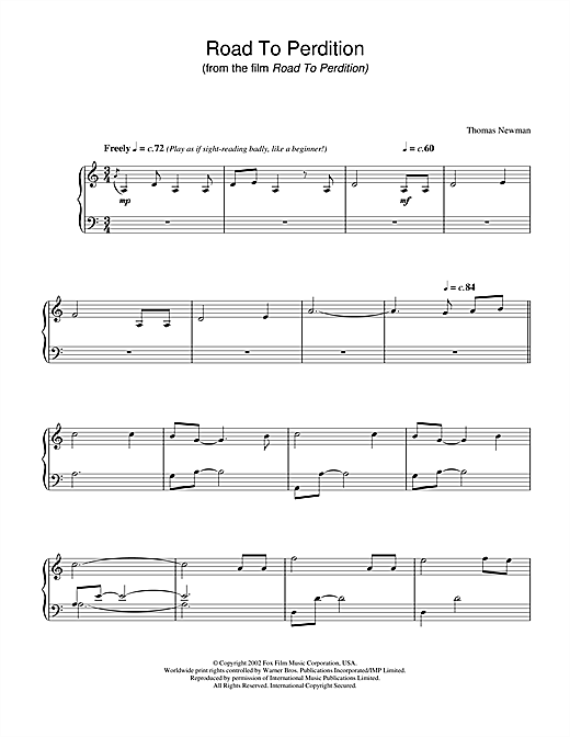 Thomas Newman Road To Perdition sheet music notes and chords