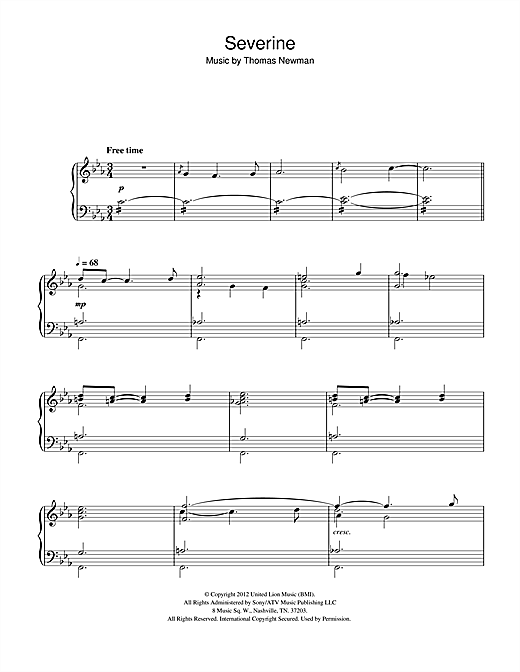 Thomas Newman Severine (from James Bond Skyfall) sheet music notes and chords