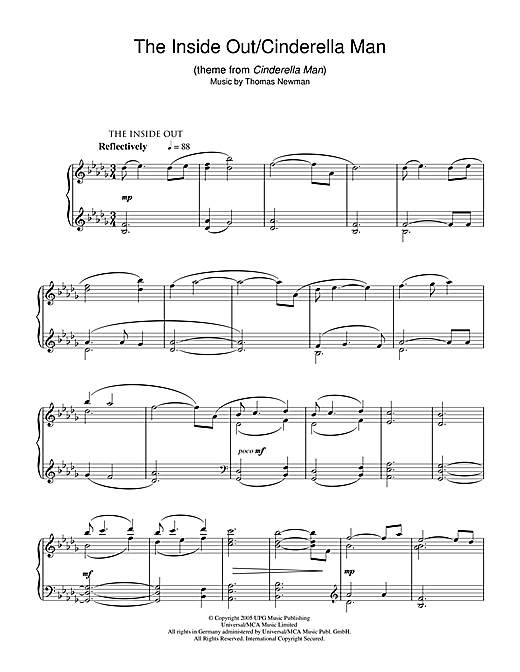Thomas Newman The Inside Out/Cinderella Man (theme from Cinderella Man) sheet music notes and chords. Download Printable PDF.