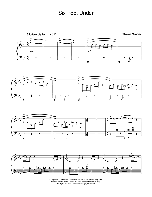 Thomas Newman Theme from Six Feet Under sheet music notes and chords
