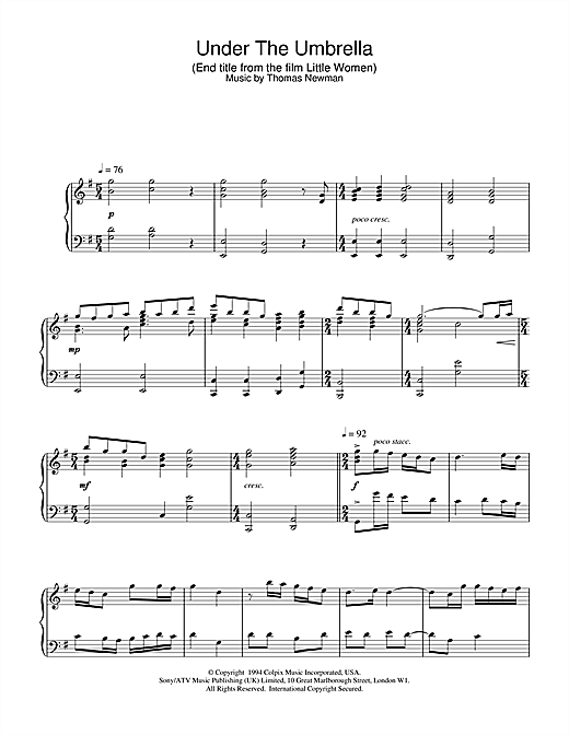 Thomas Newman Under The Umbrella (End Title from Little Women) sheet music notes and chords