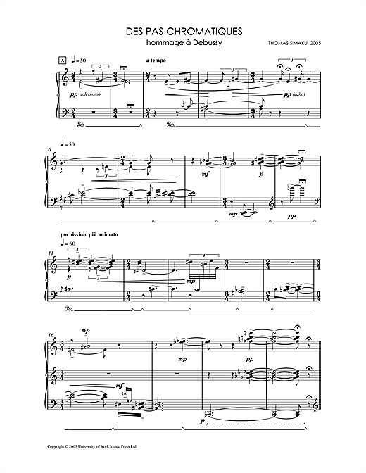 Thomas Simaku Des Pas Chromatiques - Hommage A Debussy sheet music notes and chords. Download Printable PDF.